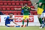 St Johnstone v Preston North End…13.07.21  McDiarmid Park<br />Michael O'Halloran is fouled for a penalty<br />Picture by Graeme Hart.<br />Copyright Perthshire Picture Agency<br />Tel: 01738 623350  Mobile: 07990 594431