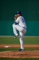 Dunedin Blue Jays relief pitcher Matt Shannon (22) during a Florida State League game against the Jupiter Hammerheads on May 15, 2019 at Jack Russell Memorial Stadium in Clearwater, Florida.  Jupiter defeated Dunedin 5-1 in a seven innings, the first game of a doubleheader.  (Mike Janes/Four Seam Images)
