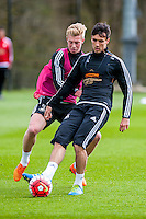 Wednesday  27 April 2016<br /> <br /> Pictured: `Jack Cork  in action during training <br /> Re: Swansea City Training Session at the Fairwood Ground, Swansea, Wales, UK