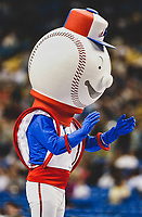 26 May 2002: The Montreal Expos held their first of two retrospective game events, turning back the clock to the 1970s with their original mascot Souki in attendance at Olympic Stadium, in Montreal, Quebec. <br />