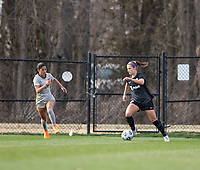 LOUISVILLE, KY - MARCH 13: Emily Fox #11 of Racing Louisville FC dribbles the ball up the field during a game between West Virginia University and Racing Louisville FC at Thurman Hutchins Park on March 13, 2021 in Louisville, Kentucky.