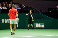 Rotterdam, The Netherlands, Februari 8, 2016,  ABNAMROWTT, Borna Coric (CRO), Ball-Boy<br /> Photo: Tennisimages/Henk Koster