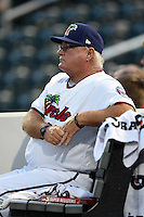 Fort Myers Miracle hitting coach Jim Dwyer (26) in the dugout during a game against the St. Lucie Mets on April 19, 2015 at Hammond Stadium in Fort Myers, Florida.  Fort Myers defeated St. Lucie 3-2 in eleven innings.  (Mike Janes/Four Seam Images)