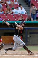 Brian Humphries #18 of the Modesto Nuts bats against the High Desert Mavericks at Stater Bros. Stadium on June 29, 2013 in Adelanto, California. Modesto defeated High Desert, 7-2. (Larry Goren/Four Seam Images)