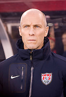 USMNT head coach Bob Bradley watches his team during introductions at an international friendly at New Meadowlands Stadium in East Rutherford, NJ.  The United States tied Argentina, 1-1.