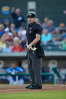 Home plate umpire Jake Bruner works the Carolina League game between the Winston-Salem Dash and the Myrtle Beach Pelicans at TicketReturn.com Field on May 16, 2019 in Myrtle Beach, South Carolina. The Dash defeated the Pelicans 6-0. (Brian Westerholt/Four Seam Images)