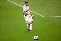 LOS ANGELES, CA - OCTOBER 25: Emiliano Insua #3 of the Los Angeles Galaxy passes off the ball during a game between Los Angeles Galaxy and Los Angeles FC at Banc of California Stadium on October 25, 2020 in Los Angeles, California.
