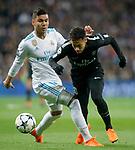 Real Madrid's Carlos Henrique Casemiro (l) and Paris Saint-Germain's Neymar Jr during Champions League Round of 16 1st leg match. February 14,2018. (ALTERPHOTOS/Acero)