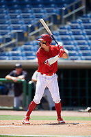 Clearwater Threshers Mickey Moniak (2) at bat during a game against the Lakeland Flying Tigers on May 2, 2018 at Spectrum Field in Clearwater, Florida.  Clearwater defeated Lakeland 7-5.  (Mike Janes/Four Seam Images)