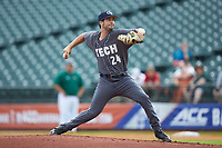 Georgia Tech Yellow Jackets starting pitcher Jake Lee (24) in action against the Miami Hurricanes during game one of the 2017 ACC Baseball Championship at Louisville Slugger Field on May 23, 2017 in Louisville, Kentucky. The Hurricanes walked-off the Yellow Jackets 6-5 in 13 innings. (Brian Westerholt/Four Seam Images)