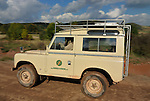 Limestone coloured 1970s Land Rover Series 3 SWB Safari Station Wagon with expedition style roof rack speeding along a forest track in the Weserbergland. Seen at an off-road event of the German Land Rover Club held at the Freizeitpark Mammut in Stadtoldendorf, Germany, October 3.-5. 2008. --- No releases available. Automotive trademarks are the property of the trademark holder, authorization may be needed for some uses.