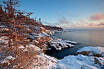 View of the rugged granite coast in winter from the Raven's Nest on the Schoodic Peninsula at Acadia National Park, Maine, USA