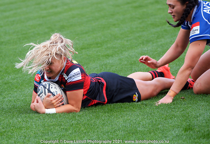 Action from the 2021 Farah Palmer Cup women's rugby match between Auckland Storm and Canterbury at Eden Park in Auckland, New Zealand on Sunday, 8 August 2021. Photo: Dave Lintott / lintottphoto.co.nz