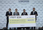 Christophe Ameeuw, Mr.MA ching-Yeunj Philip,Dr. Lee Yuk Lun(celui Qui a parle) and Mr Juan-Carlos Capelli receive a check after the Longines Speed Challenge during the Longines Masters of Hong Kong at AsiaWorld-Expo on 10 February 2018, in Hong Kong, Hong Kong. Photo by Diego Gonzalez / Power Sport Images
