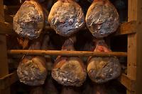 """Europe/France/Rhône-Alpes/01/Ain/Lelex: Jambons dans le séchoir de Claude Grosgurin  charcutier """"Au Bon Saucisson"""" // <br /> Europe / France / Rhône-Alpes / 01 / Ain / Lelex: Hams in the dryer of Claude Grosgurin charcutier """"Au Bon Saucisson"""""""