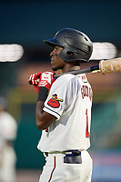 Rochester Red Wings second baseman Nick Gordon (1) on deck during a game against the Lehigh Valley IronPigs on June 30, 2018 at Frontier Field in Rochester, New York.  Lehigh Valley defeated Rochester 6-2.  (Mike Janes/Four Seam Images)