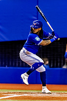 25 March 2019: Toronto Blue Jays shortstop Freddy Galvis at bat during an exhibition game against the Milwaukee Brewers at Olympic Stadium in Montreal, Quebec, Canada. The Brewers defeated the Blue Jays 10-5 in the first of two MLB pre-season games in the former home of the Montreal Expos. Mandatory Credit: Ed Wolfstein Photo *** RAW (NEF) Image File Available ***