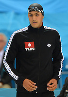 August 04, 2012..Oussama Mellouli arrives to compete in Men's 1500m Freestyle Final at the Aquatics Center on day eight of 2012 Olympic Games in London, United Kingdom.