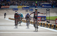 John Degenkolb (DEU/Giant-Alpecin) wins a select sprint in the legendary Roubaix Velodrome, beating Zdenek Stybar (CZE/Etixx-QuickStep) & Greg Van Avermaet (BEL/BMC) to the finish line<br /> <br /> 113th Paris-Roubaix 2015