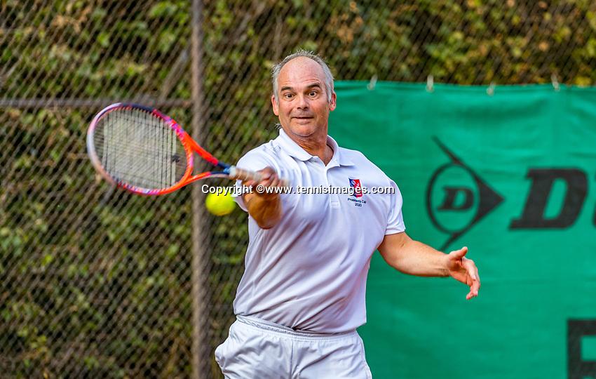 Hilversum, The Netherlands,  August 20, 2021,  Tulip Tennis Center, NKS, National Senior Tennis Championships, Men's single 60+, Rob de Jonge (NED)<br /> Photo: Tennisimages/Henk Koster