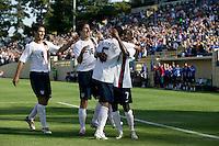 Ante Razov, Sacha Kljestan, Benny Feilhaber, and DaMarcus Beasley celebrate. The USA defeated China, 4-1, in an international friendly at Spartan Stadium, San Jose, CA on June 2, 2007.