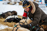 Volunteer veterinarian Steven Shipley examines a Rick Casillo dog at the Nikolai checkpoint  during the 2018 Iditarod race on Tuesday afternoon March 06, 2018. <br /> <br /> Photo by Jeff Schultz/SchultzPhoto.com  (C) 2018  ALL RIGHTS RESERVED