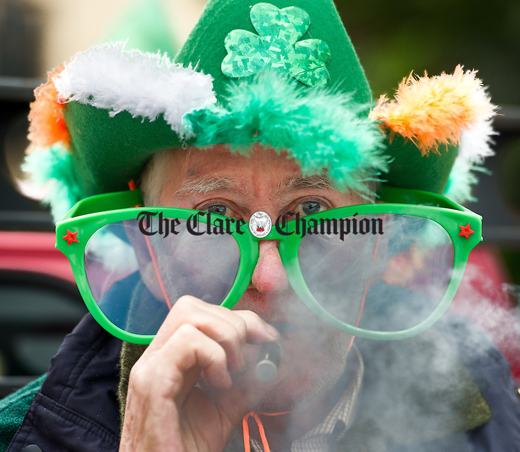 Gerry Kearney at the St Patrick's Day Parade in Sixmilebridge. Photograph by John Kelly.
