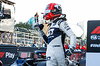 6th June 2021; F1 Grand Prix of Azerbaijan, Race Day;  GASLY Pierre fra, Scuderia AlphaTauri Honda AT02, celebrates his 3rd placed finish after the Formula 1 Azerbaijan Grand Prix 2021 at the Baku City Circuit