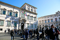 Crowd of cameras, photographers and journalists waiting outside the Quirinale palace for the arriving of Giuseppe Conte who is going to meet the Italian President to resign as Premier. Rome (Italy), January 26th 2021<br /> Photo Samantha Zucchi Insidefoto