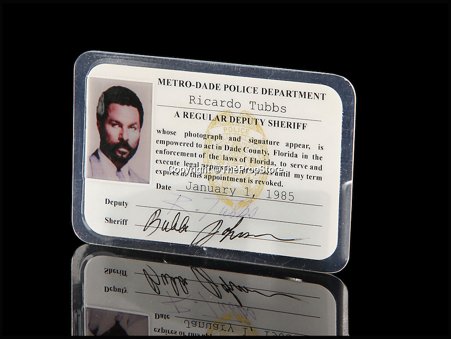 BNPS.co.uk (01202 558833)<br /> Pic: ThePropStore/BNPS<br /> <br /> Philip Michael Thomas's Ricardo Tubbs police ID from Miami Vice.<br /> <br /> Stop! Police! - Hollywoods finest...and funniest id badges come up for auction.<br /> <br /> The world's largest ever collection of IDs belonging to a who's who of film and TV stars is set to be auctioned. <br /> <br /> Credentials used by Hollywood royalty including Jodie Foster, Bruce Willis, Leonardo DiCaprio, Jeremy Irons, Eddie Murphy and Kiefer Sutherland are all about to go under the hammer. <br /> <br /> The lots are being sold on behalf of an anonymous collector who amassed the collection over a period of 15 years. <br /> <br /> They will be auctioned by the Prop Store in London on Tuesday, September 27.
