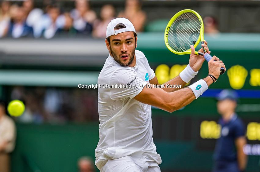 London, England, 8 July, 2019, Tennis,  Wimbledon, Men's singles: Matteo Berrettini (ITA)<br /> Photo: Henk Koster/tennisimages.com