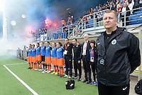 Bekerfinale vrouwen 2015 : Lierse-Club Brugge Vrouwen :<br /> <br /> de Brugse bank tijdens de nationale hymne<br /> <br /> foto VDB / BART VANDENBROUCKE