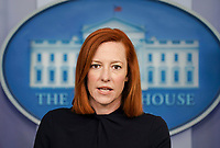 Jen Psaki, White House press secretary, speaks during a news conference in the James S. Brady Press Briefing Room at the White House in Washington, D.C. on Thursday, April 1, 2021. Press Secretary Psaki addressed issues including border facilities, COVID-19 vaccination sites, and corporate taxes.   <br /> CAP/MPI/RS<br /> ©RS/MPI/Capital Pictures