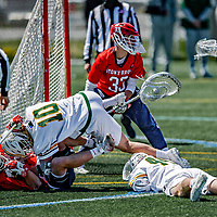 1 May 2021: University of Vermont Catamount Attacker David Closterman (10), a Junior from Doylestown, PA, collides with Stony Brook University Seawolf Defender Danny Cassidy (99), a Senior from Wading River, NY, and fellow Catamount Thomas McConvey (44), as Seawolf Anthony Palma (not pictured) makes a save during game action at Virtue Field in Burlington, Vermont. The Cats edged out the Seawolves 14-13 with less than one second to play in their America East Men's Lacrosse matchup. Mandatory Credit: Ed Wolfstein Photo *** RAW (NEF) Image File Available ***