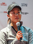 Xiyu Lin of China attends the press conference ahead of the Hyundai China Ladies Open 2014 on December 10 2014 at Mission Hills Shenzhen, in Shenzhen, China. Photo by Xaume Olleros / Power Sport Images