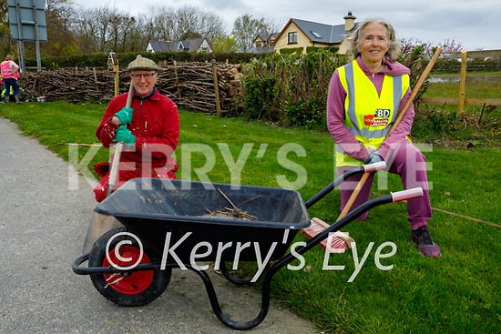 Jim Fox and Maura McCarthy doing a tidy up in Spa on Saturday morning.