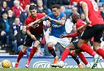 05.05.2018 Rangers v Kilmarnock: James Tavernier with Jordan Jones and Youssouf Mulumbu