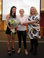 Pictured L-R: Nia Davies presents Lucy Powell with the Girls Player of the Year award Saturday 27 May 2017<br /> Re: Swansea City FC Academy Awards Evening at the Liberty Stadium, Wales, UK