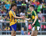 Diarmuid Ryan of Clare congratulates Chris O'Donoghue of Kerry following their Minor Munster final at Killarney.  Photograph by John Kelly.
