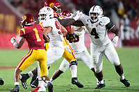 LOS ANGELES, CA - SEPTEMBER 11: Gabe Reid, Thomas Booker during a game between University of Southern California and Stanford Football at Los Angeles Memorial Coliseum on September 11, 2021 in Los Angeles, California.