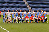 Bridgeview, IL - Wednesday August 16, 2017: Chicago Red Stars Starting XI, player escorts during a regular season National Women's Soccer League (NWSL) match between the Chicago Red Stars and the Seattle Reign FC at Toyota Park. The Seattle Reign FC won 2-1.