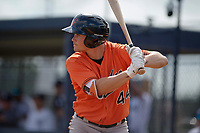 Baltimore Orioles second baseman Preston Palmeiro (44) at bat during an Instructional League game against the New York Yankees on September 23, 2017 at the Yankees Minor League Complex in Tampa, Florida.  (Mike Janes/Four Seam Images)