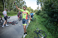 Mathijs Schaassens (NED/Bingoal WB) calling for assistance after a crash early in the race<br /> <br /> Heistse Pijl 2020<br /> One Day Race: Heist-op-den-Berg > Heist-op-den-Berg 190km  (UCI 1.1)<br /> ©kramon