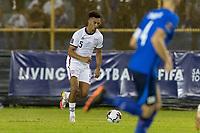 SAN SALVADOR, EL SALVADOR - SEPTEMBER 2: Antonee Robinson of the United States moves with the ball during a game between El Salvador and USMNT at Estadio Cuscatlán on September 2, 2021 in San Salvador, El Salvador.