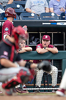 Florida State Seminoles Head coach Mike Martin (11) talks to the on deck batter during Game 9 of the NCAA College World Series against the Texas Tech Red Raiders on June 19, 2019 at TD Ameritrade Park in Omaha, Nebraska. Texas Tech defeated Florida State State 4-1. (Andrew Woolley/Four Seam Images)