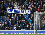 Rangers fans with a message of sympathy for Craig Houston after the passing of his dad
