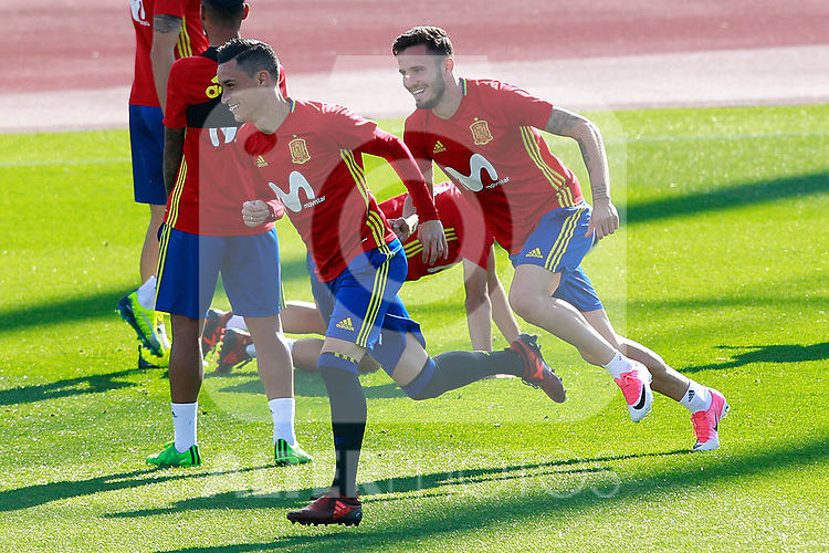 Spain's Jose Callejon (l) and Saul Niguez during training session. October 4,2017.(ALTERPHOTOS/Acero)