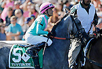 ARLINGTON HEIGHTS, IL - AUGUST 13: Tuttipaesi #5, ridden by Christopher P. DeCarlo, during the post parade before the Beverly D. Stakes at Arlington International Racecourse on August 13, 2016 in Arlington Heights, Illinois. (Photo by Jon Durr/Eclipse Sportswire/Getty Images)