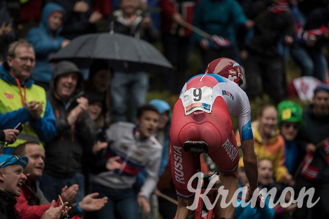 Ilnur Zakarin (RUS/Katusha) up Mount Fløyen<br /> <br /> Men Elite Individual Time Trial<br /> <br /> UCI 2017 Road World Championships - Bergen/Norway