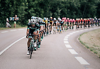 Team Bora-Hansgrohe trying to lower the gap with the breakaway group<br /> <br /> Stage 5: Grenoble > Valmorel (130km)<br /> 70th Critérium du Dauphiné 2018 (2.UWT)